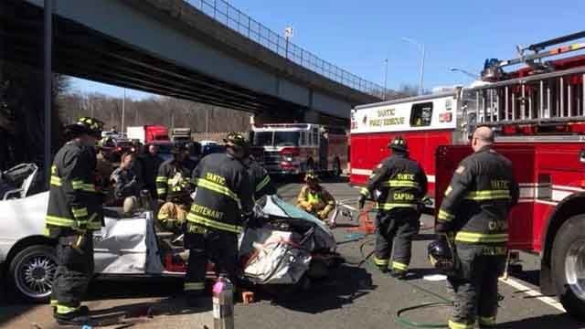 Driver taken to hospital following crash on Route 2 in