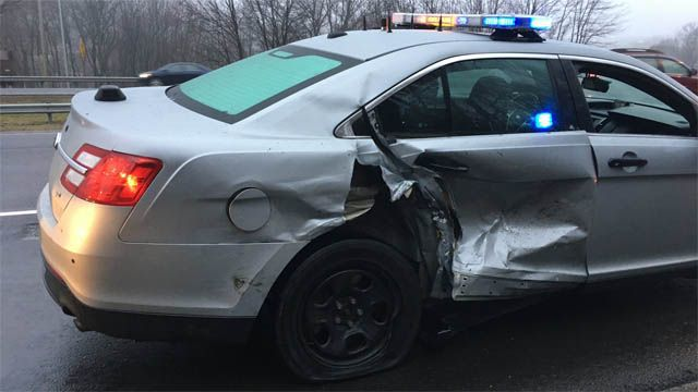 State police cruiser involved in crash in Waterbury