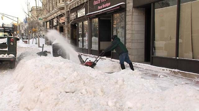 Snow budgets tapped as storm cleanup continued today despite cold, wind