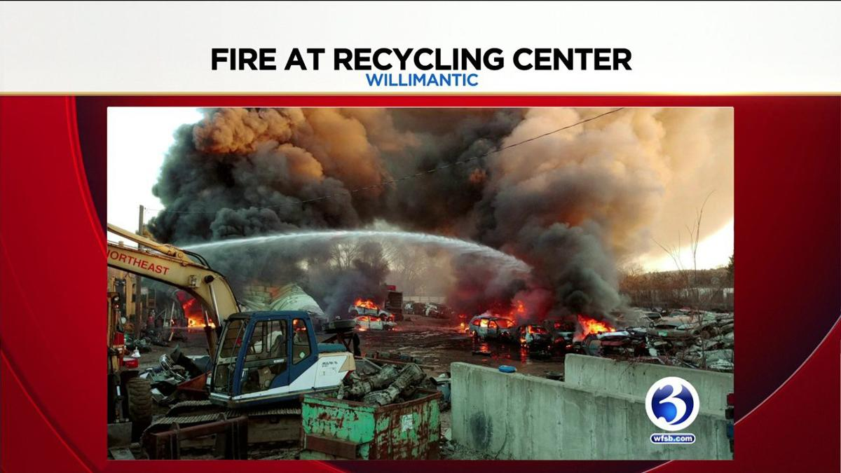 VIDEO: Evacuations underway as crews battle fire at Willimantic recycling center