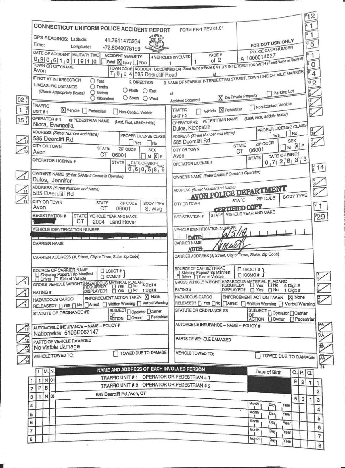 Dulos Mother Death Accident Report