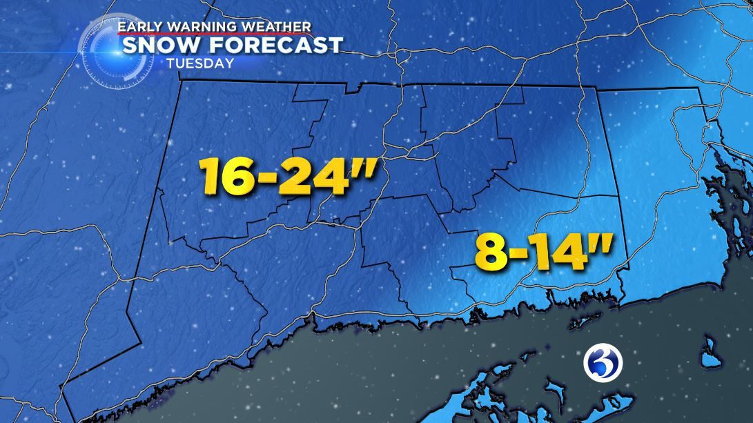 Storm could bring up to 2 feet of snow on Tuesday