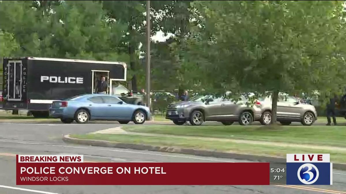 VIDEO: Large police presence reported at a Windsor Locks hotel