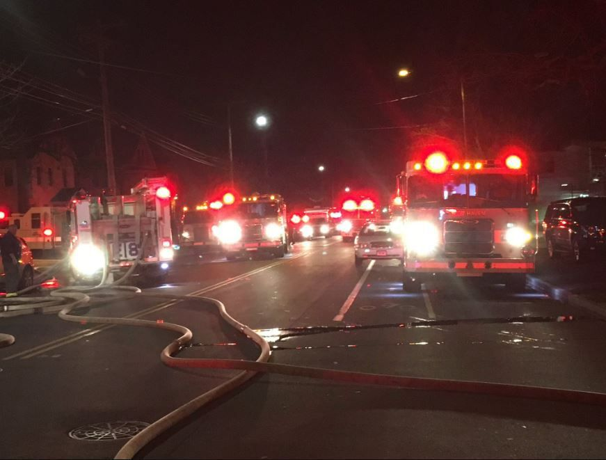 Four people taken to hospital after large fire in New Haven
