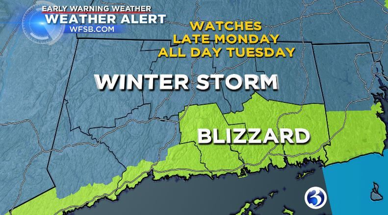 Blizzard Watches for some; nor'easter bearing down by Tuesday morning