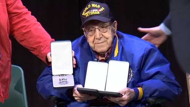 WWII veteran receives medals decades later