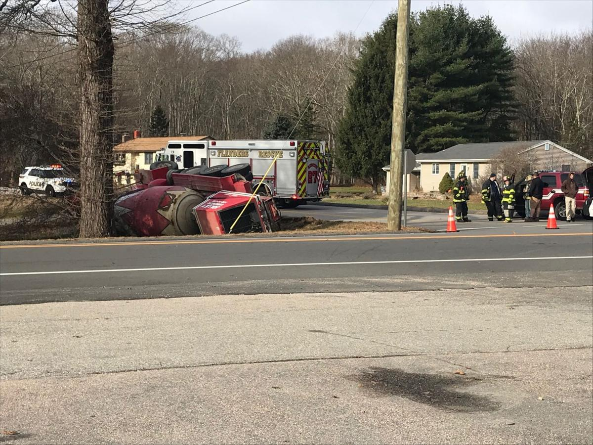East Lyme cement truck rollover crash