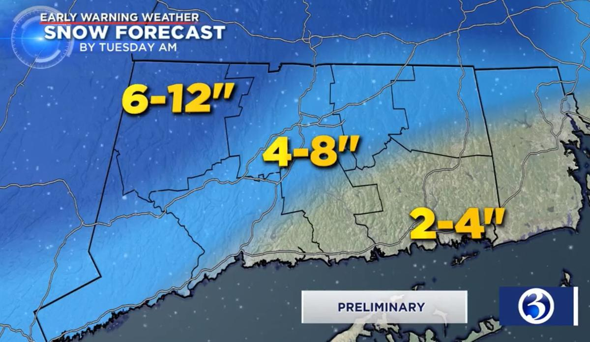 Winter Storm Abel Totals Sunday Morning