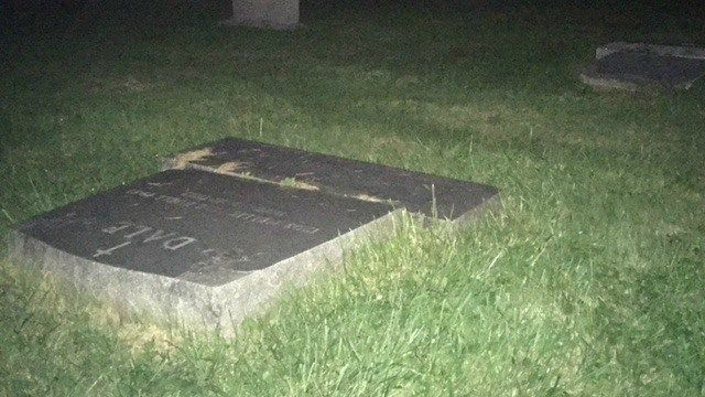 Vandals knock over more than a dozen headstones at Middletown cemetery