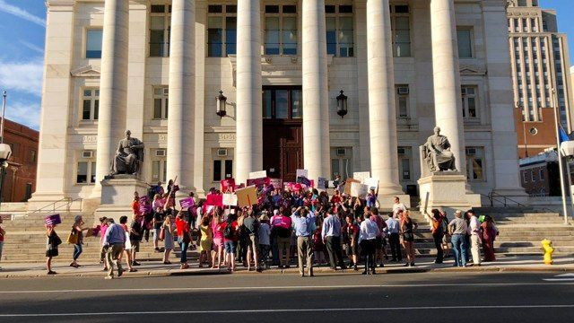 Demonstrators rallied against Supreme Court nominee in New Haven