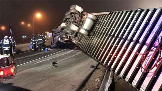 Truck carrying produce rolls over on Route 9 ramp