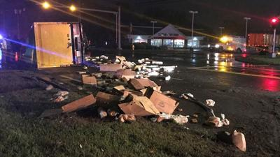 Box truck rolls over in Enfield