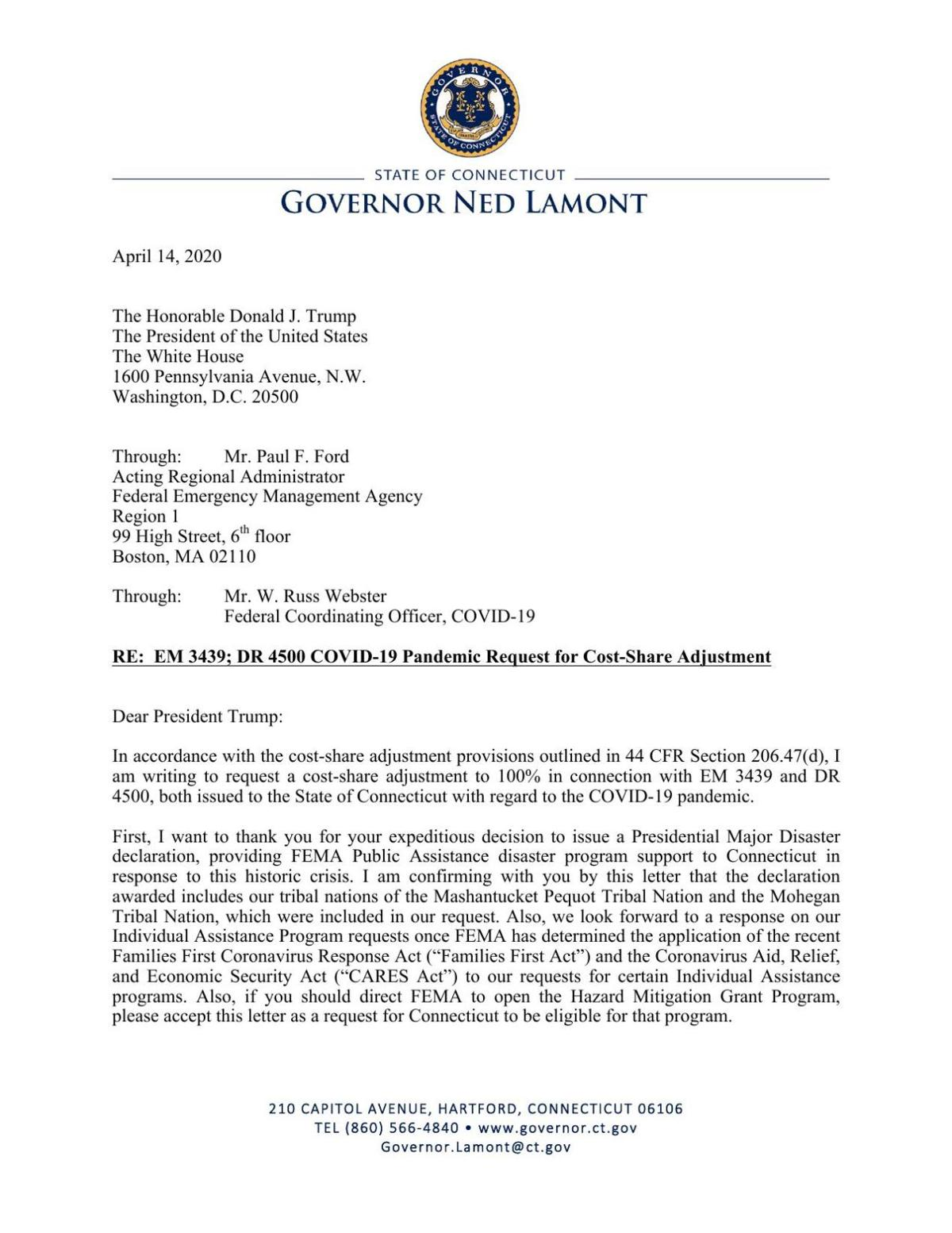 Gov. Lamont's supplemental request for aid