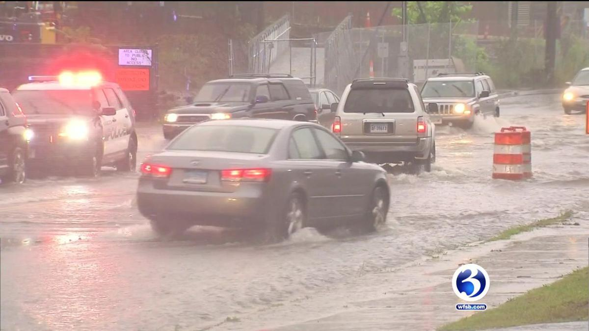 VIDEO: Flash flooding submerges roads in Hamden
