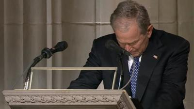 George W. Bush delivers tearful eulogy
