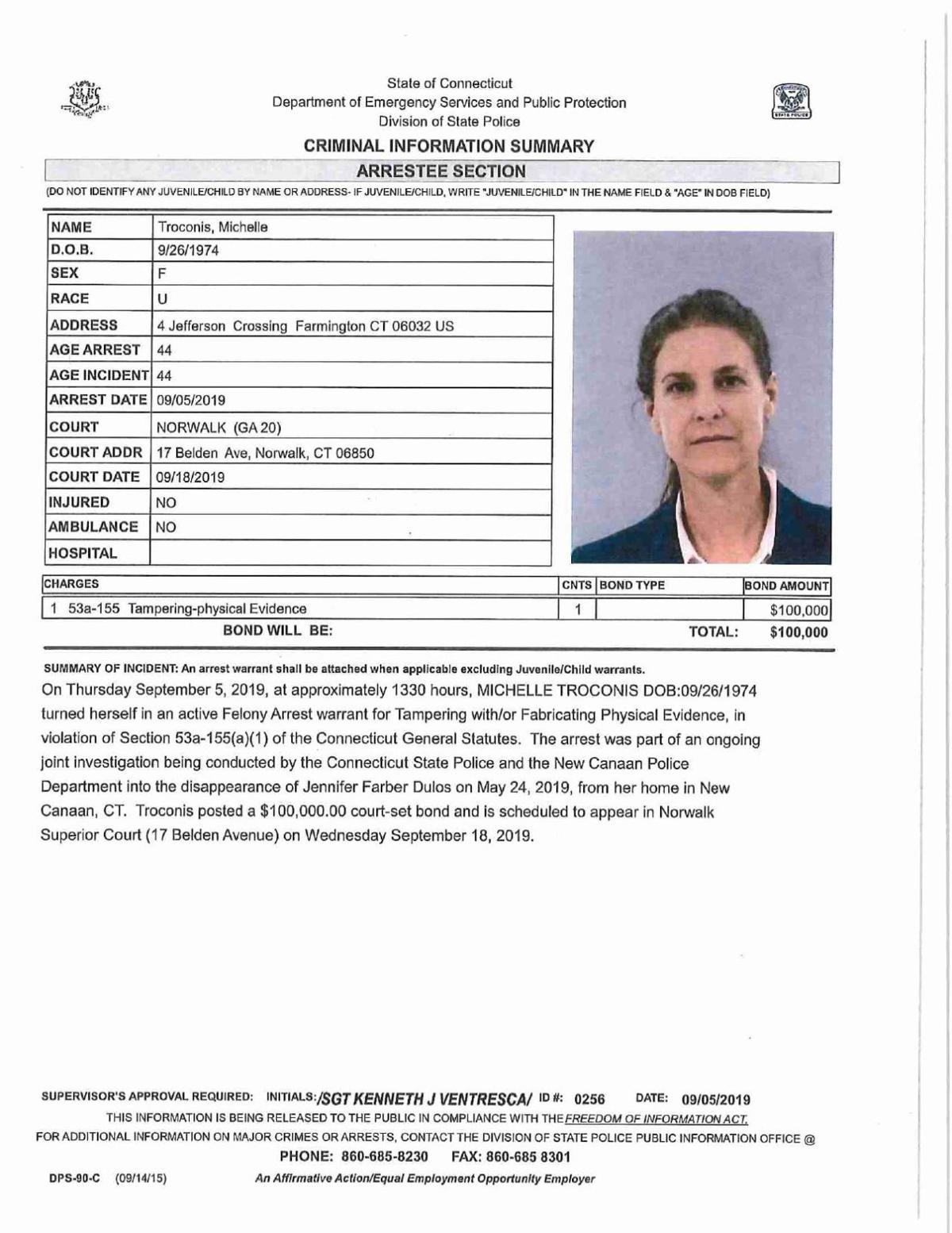 Michelle Troconis arrest warrant