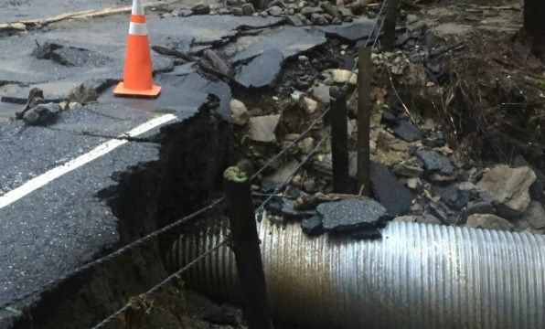 Busy Cornwall road severely damaged by heavy rain Wednesday