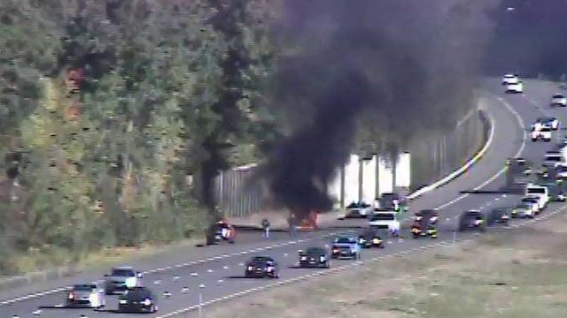 Car fire on I-84 near Southington/ Plainville town line causes traffic delays
