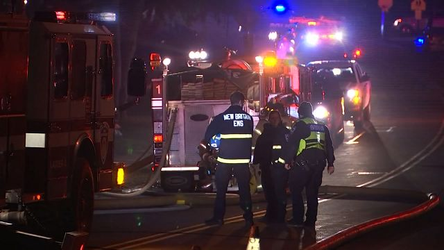 Firefighters battle house fire in New Britain on Sunday