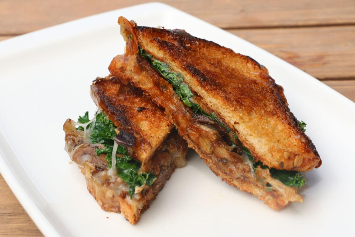 Five-spice duck confit grilled cheese with smoked gouda, provolone and asadero