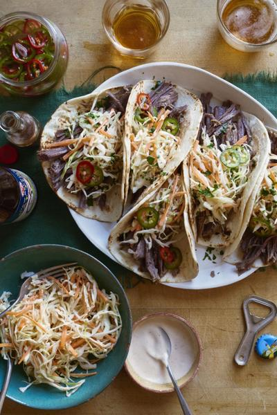 Irish tacos made with corned beef and cabbage slaw