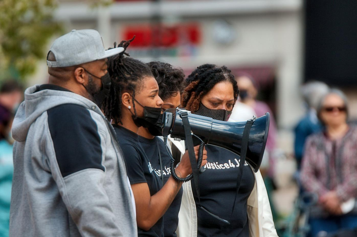 Jazzpher Evans and family at rally on Saturday