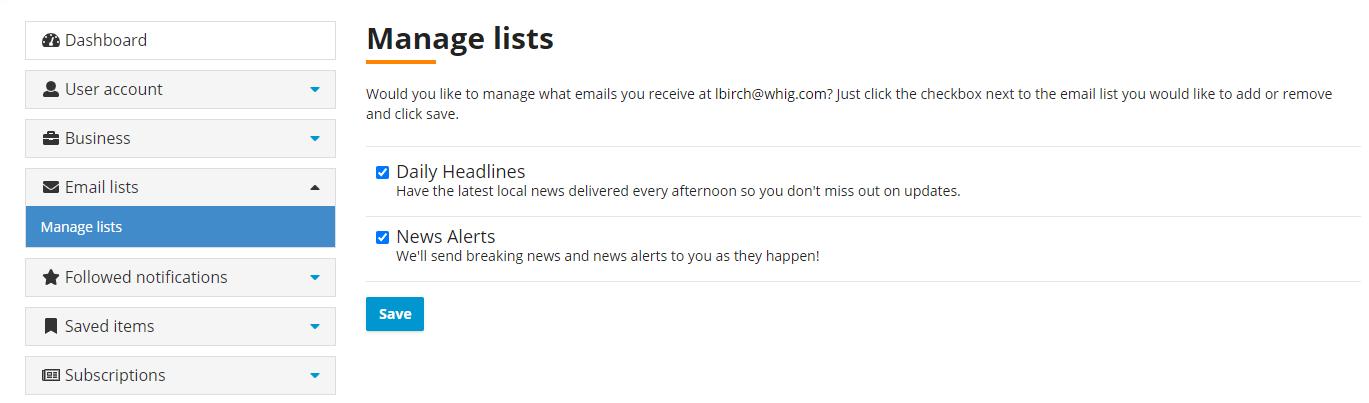 Whig Dashboard - Manage email lists screenshot