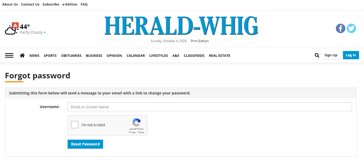 Whig - Forgot Password - screenshot