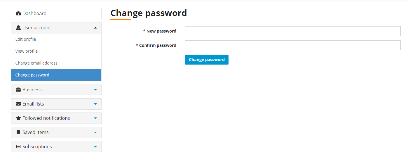 Whig Dashboard - Change Password while logged in