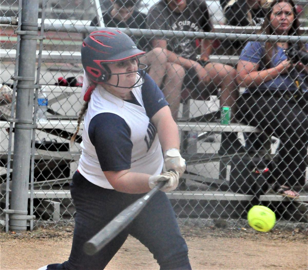 Man Tug Valley Ashlee Tomblin bat on ball