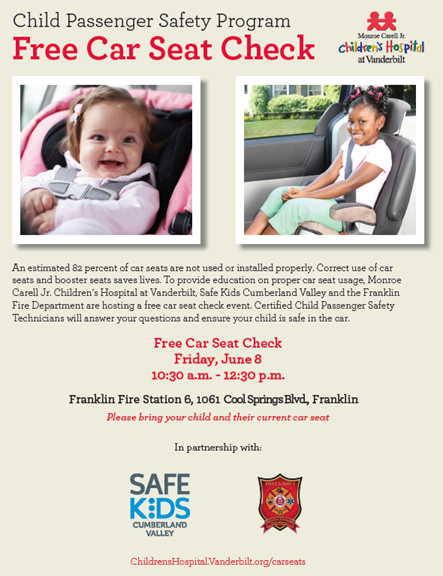 Franklin Fire Department Hosting Car Seat Safety Check