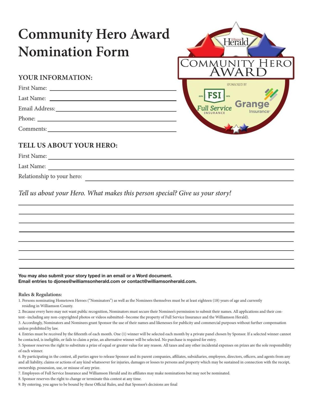 Full Service Community Awards Nomination Form