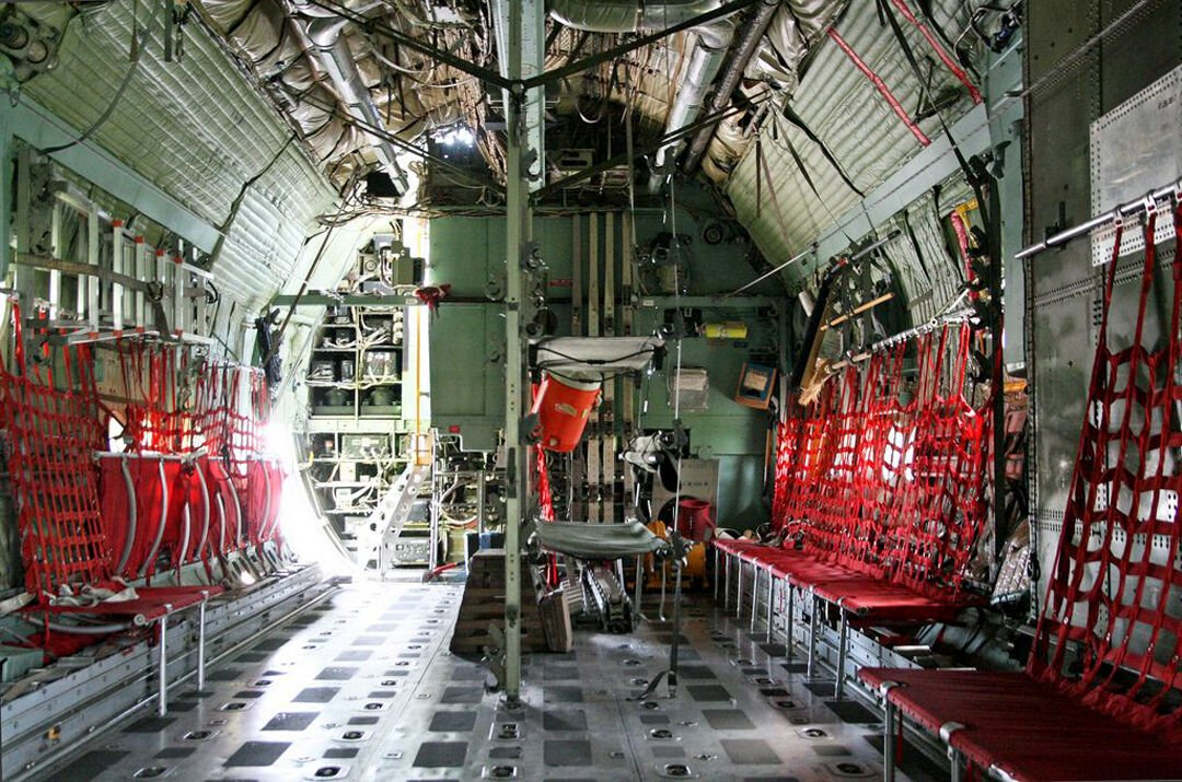 Interior of a C-130 outfitted for troops.