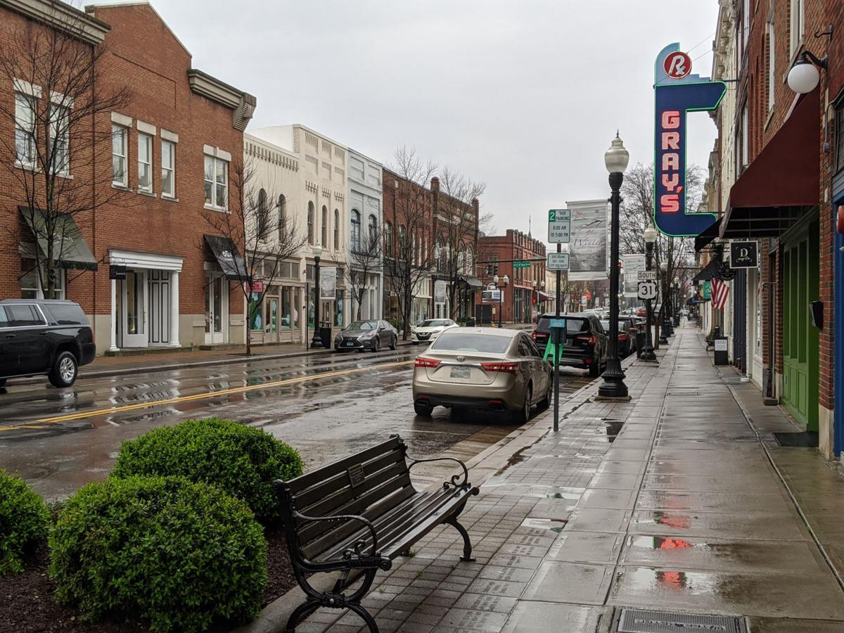 Empty rainy Franklin Main Street