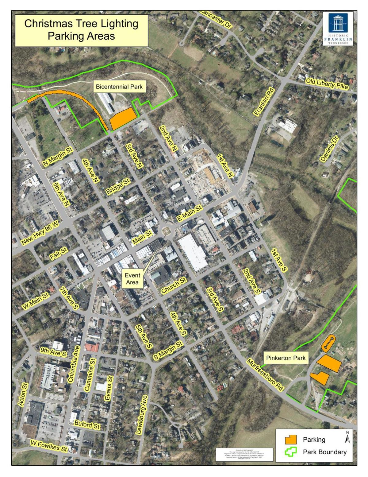 Parking Areas in Downtown Franklin for Events