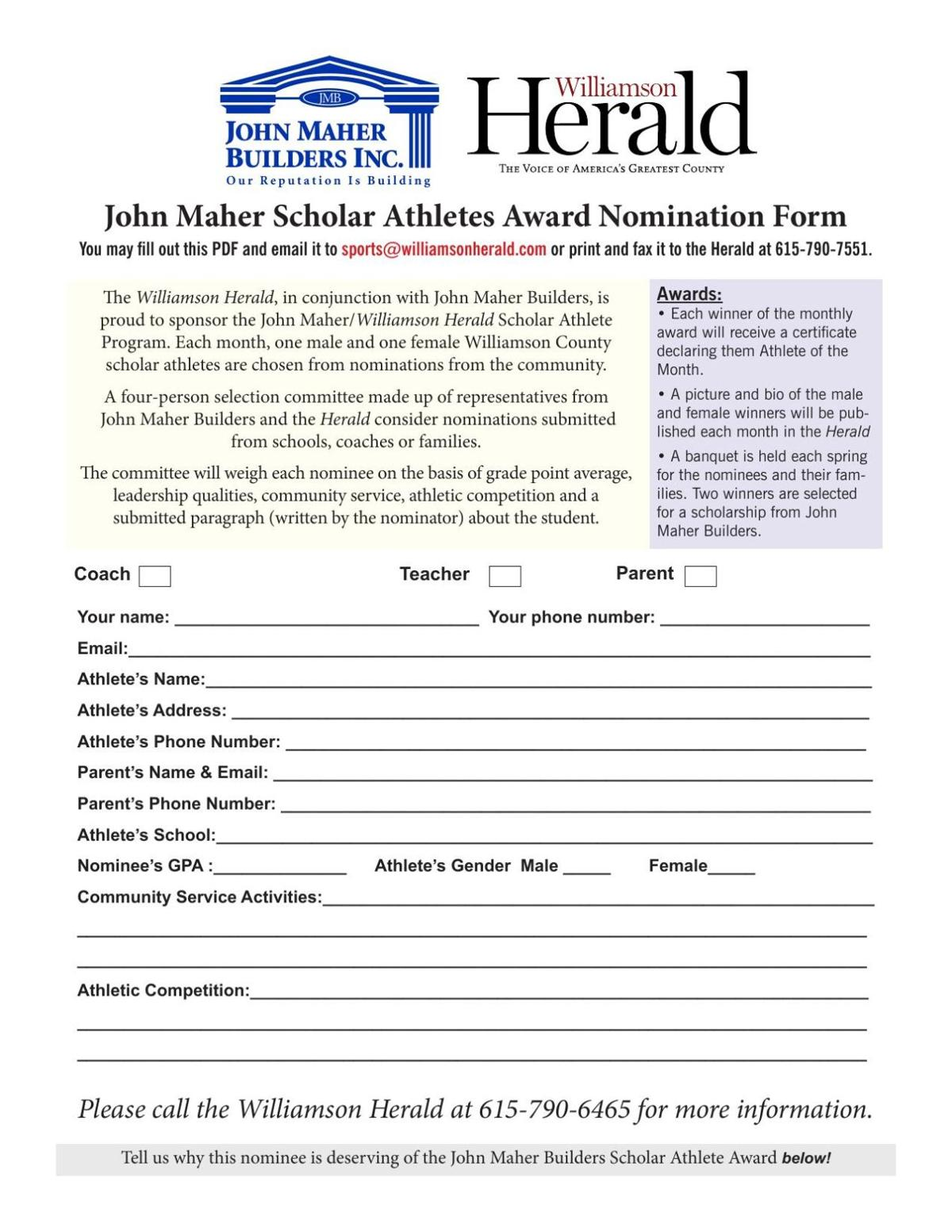 John Maher Submission Form