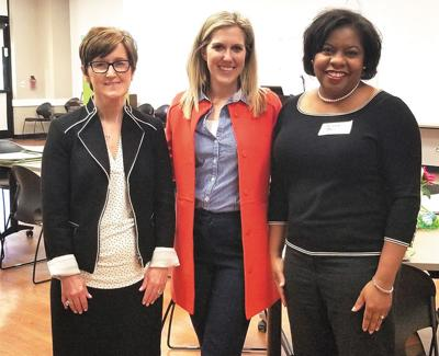 (Left) Judy Long, First Citizen's National Bank president and Chief Operating Officer, Sydney Ball, bank regional business development manager, and Allena Bell, Smart Women advisory board member attended the first Smart Women session at the Williamson County Public Library this week.