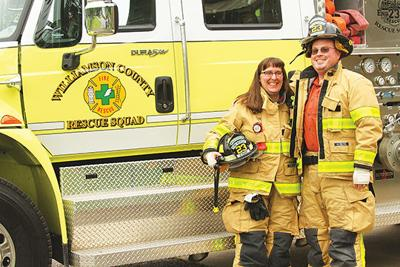 Dinah and Adam Wade, volunteer fire fighters for the Williamson County Rescue Squad, also serve the community in other ways, Dinah as the librarian at Freedom Intermediate School and Adam as a Franklin police officer.