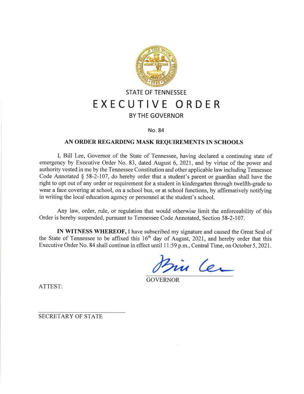 Gov. Lee Executive Order 84