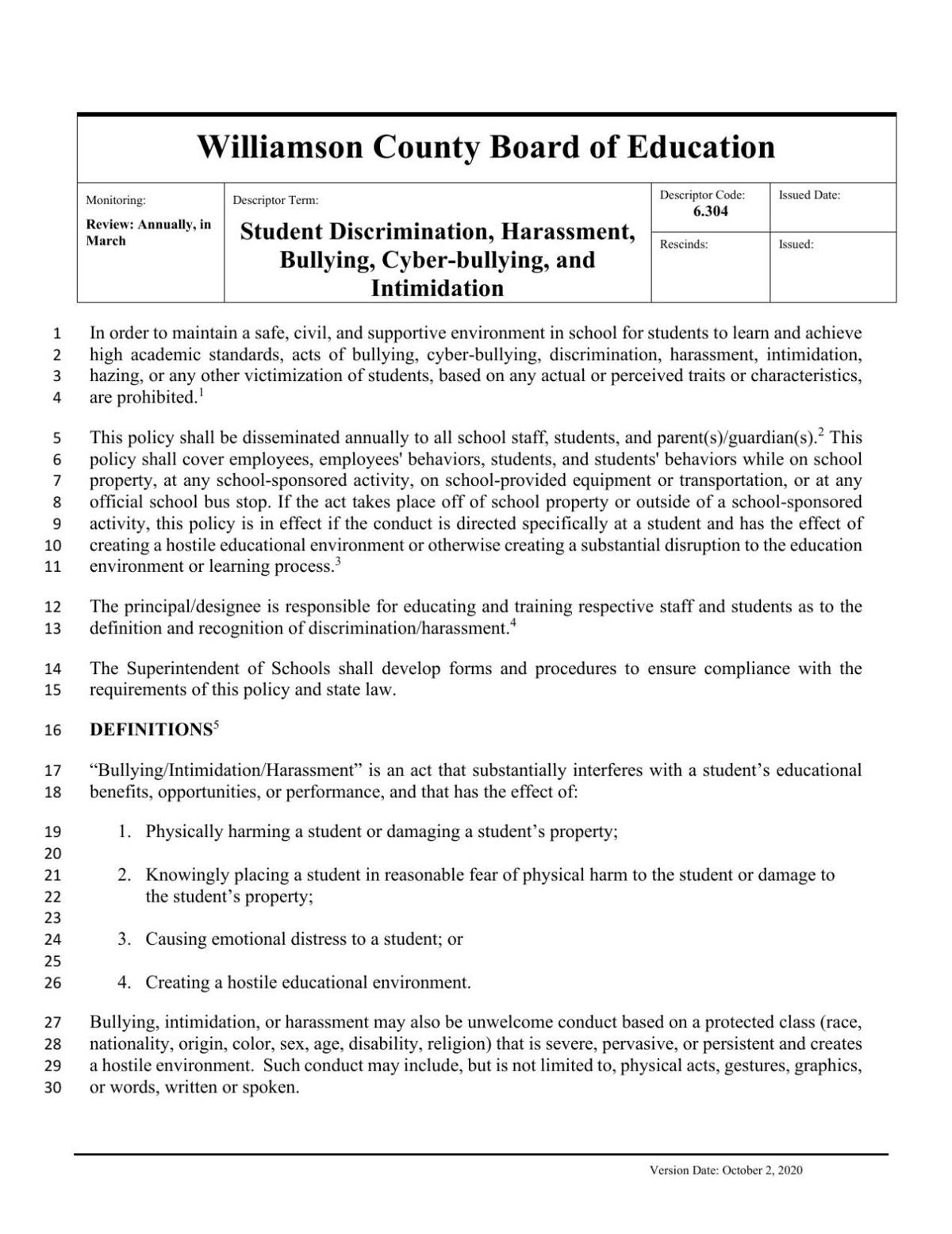 WCS Harassment Policy Drafts (Oct. 5, 2020)