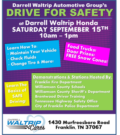 Darrell Waltrip Automotive To Host Drive For Safety S