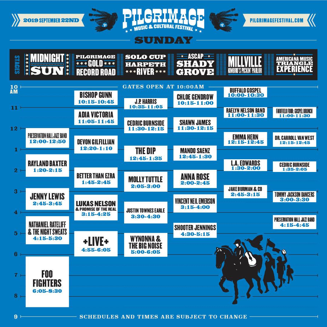Pilgrimage Festival Sunday Schedule
