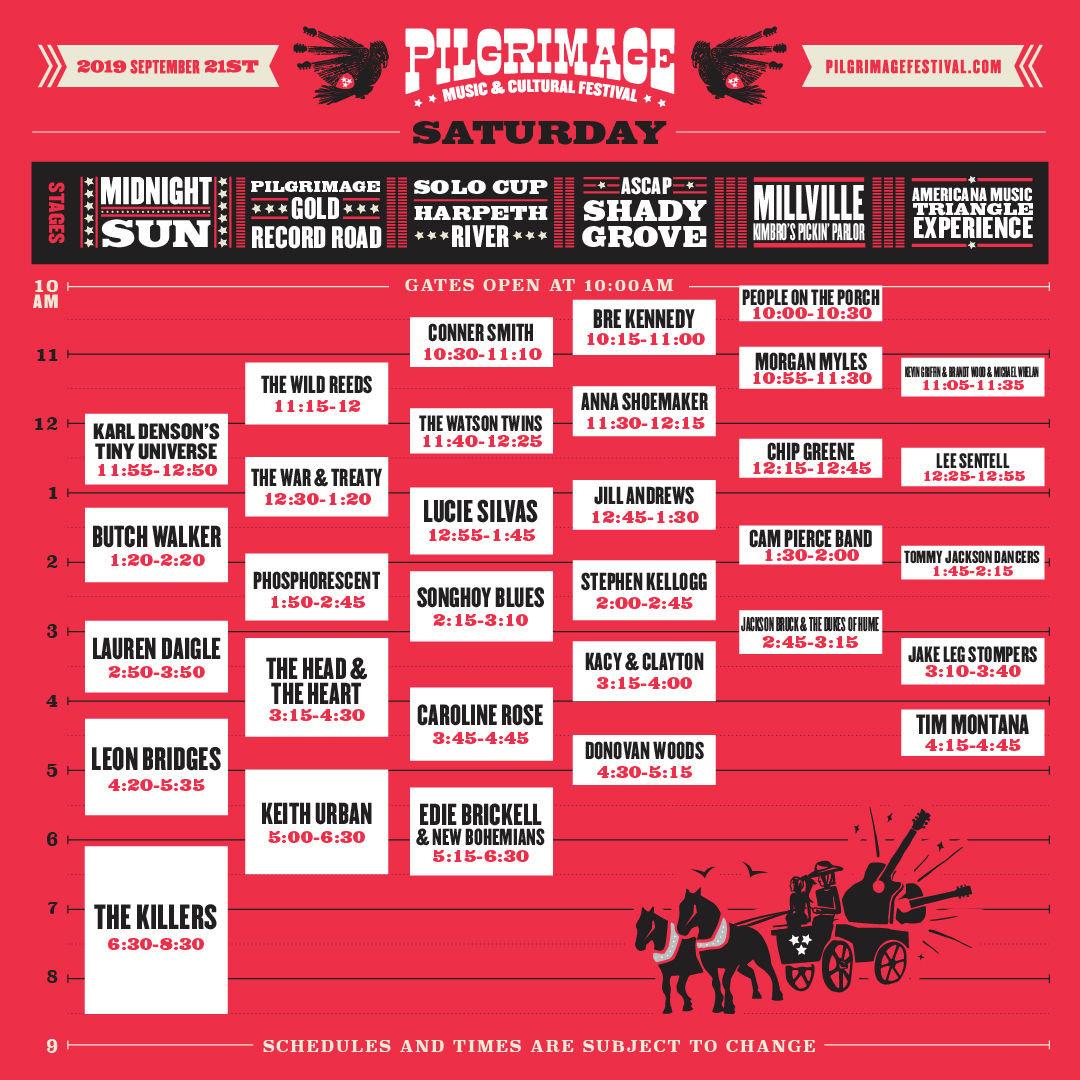 Pilgrimage Festival Saturday Schedule