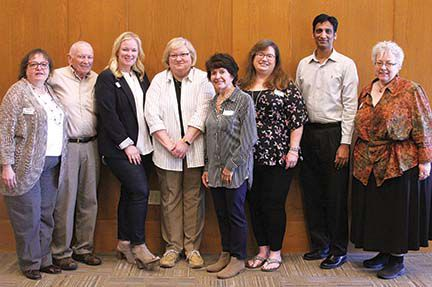 """Members of the John P. Holt Brentwood Library Board include Susan Earl, library director; Chuck Scott, Laura McClendon, Betsey Crossley, city commission representative to the board; Dotty Grief, Kathy Dooley-Smith, Sree Polavarapu and MC Sparks, library administrative assistant and """"Brentwood Hollerer."""""""