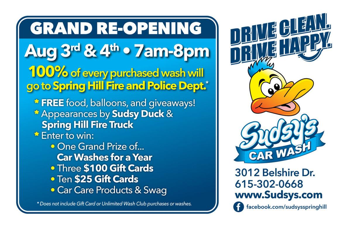 Sudsys car wash to donate grand re opening proceeds to spring hill sudsys car wash solutioingenieria Choice Image