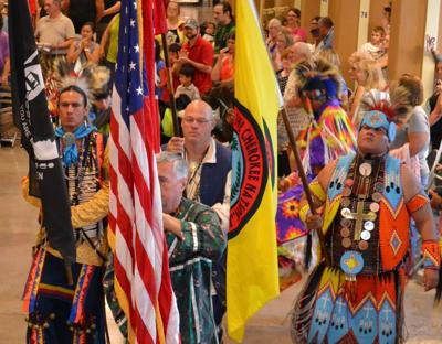 The flag ceremony at the Indian Creek Productions Powwow