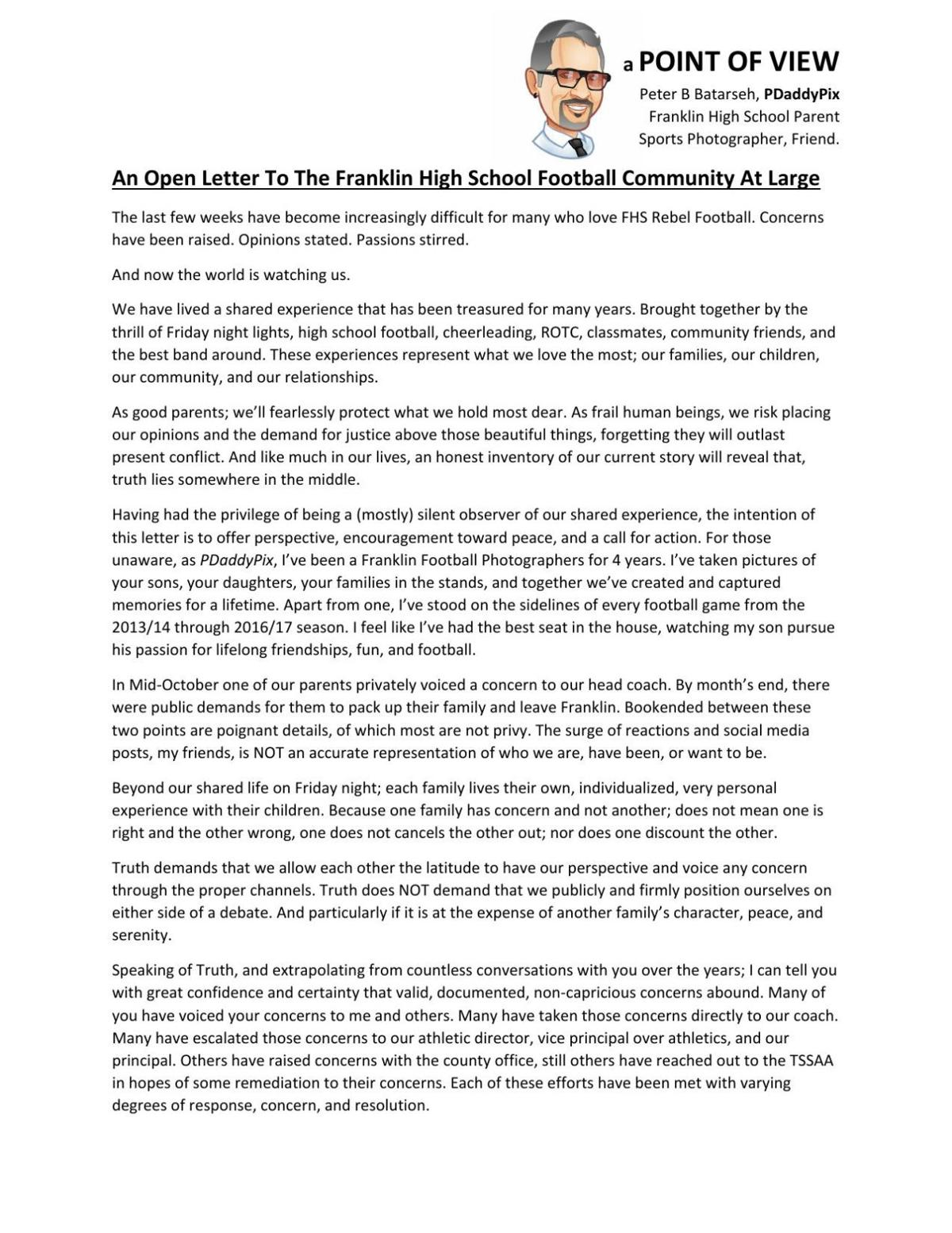 Letter to the Editor An Open Letter to the Franklin High School