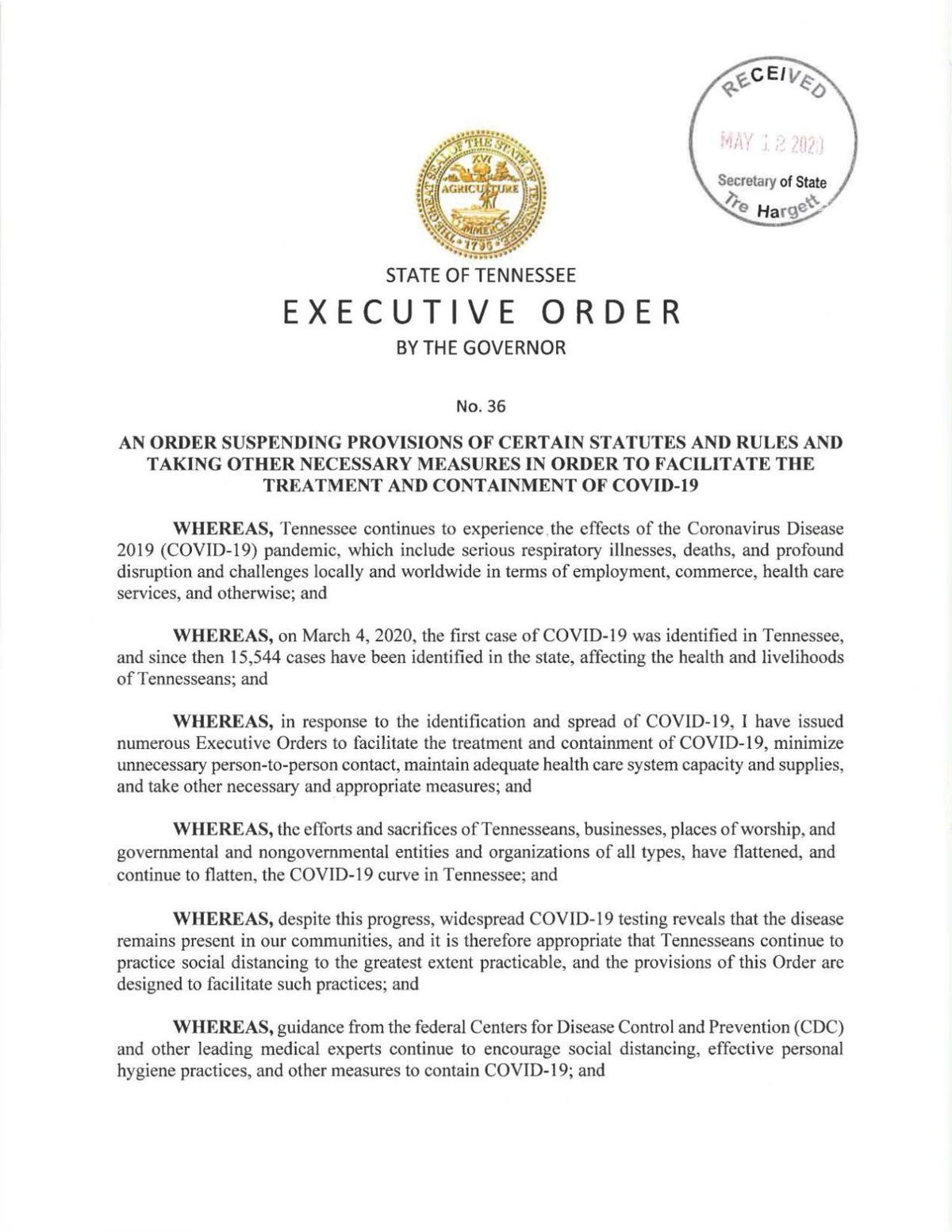 Gov. Bill Lee Executive Orders 36, 38, 49, 50, 51, 52