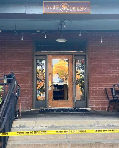 Frothy Monkey front door smashed