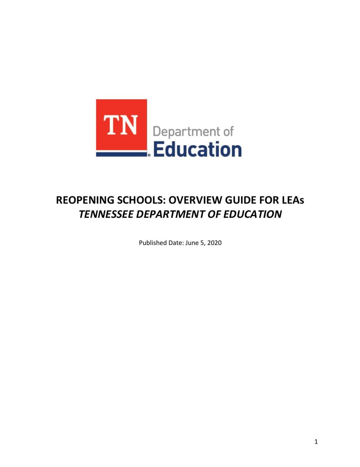 Reopening Schools - Overview Guide for LEAs